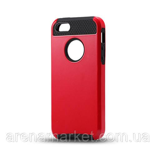 Чохол для iPhone 5/5S з міцного пластику і силікону - червоно-чорний