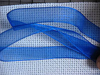 Лента органза, 10 мм, синяя
