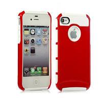 Чехол для iPhone 5/5S из прочного пластика и силикона - красно-белый