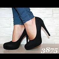 Туфли лодочки чёрные замш