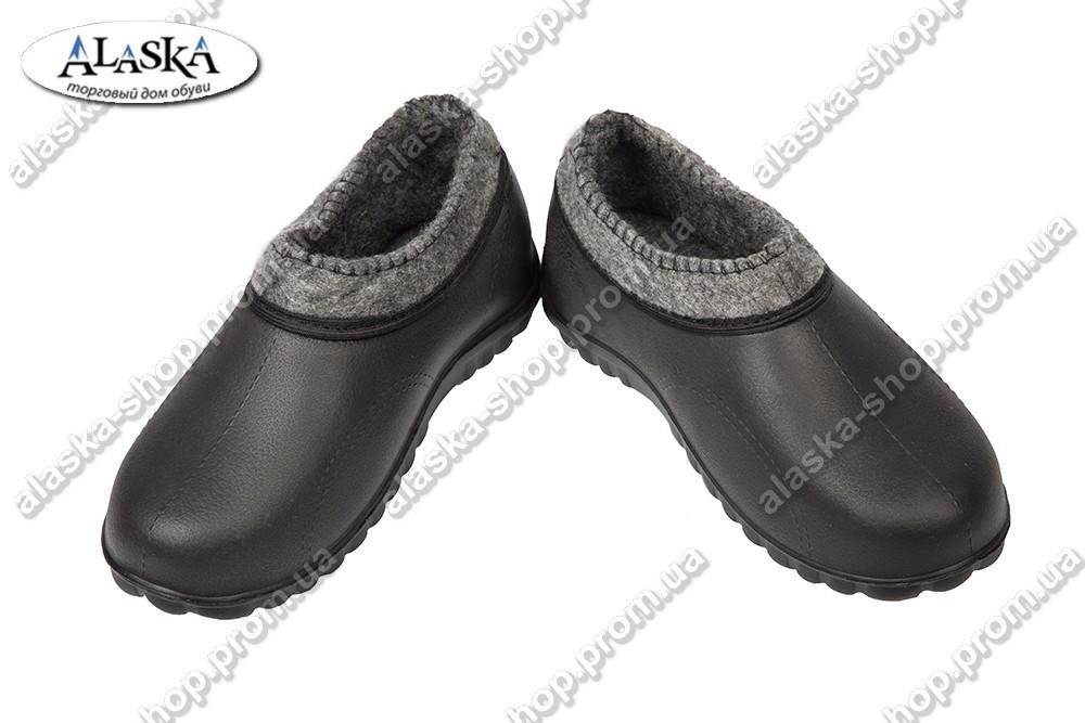 Галоши женские меховые черные (Код: Спорт нетканка)