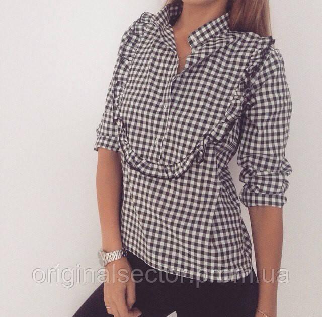 e351c4e4529e400 Рубашка женская в клетку с рюшей, цена 430 грн., купить Одеса — Prom ...