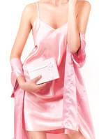 Пеньюар с халатиком комплект, атласный комплект белья, женский халатик  в комплекте атлас. Размеры 40 - 50.
