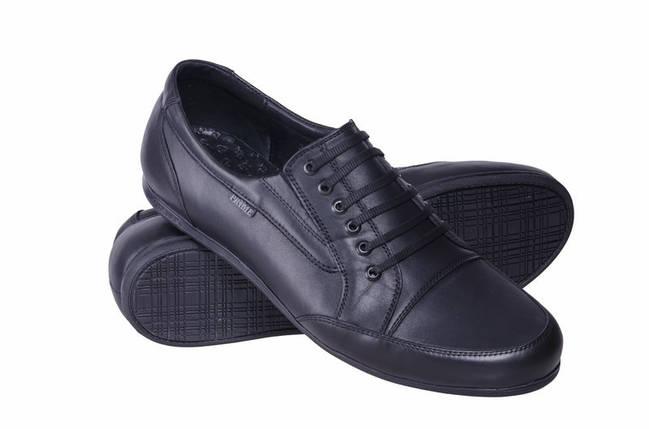 Туфли спортивные подростковые из натуральной кожи PRIME черные              , фото 2