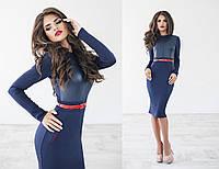 Платье женское синие с красным ремнём ТК/-1043
