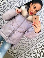 Стильная теплая женская куртка с карманами и со съемным мехом на капюшоне, серая