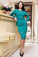 Костюм женский юбка и блуза креп-трикотаж + сетка Размер: S, M, L, XL