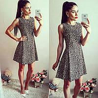 Женское леопардовое платье коттон