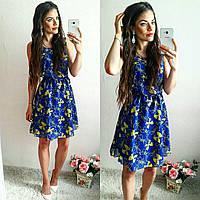 Женское шифоновое  платье  в цветы банты