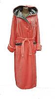 Махровый халат с капюшоном длинный