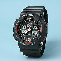 Часы водонепроницаемые Casio G-Shock GA-100 Black-Red AAA