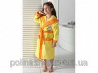 Детский халат для девочки Philippus жёлтый с собачкой 5-6 лет.