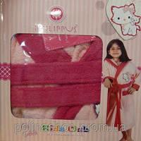 Детский халат для девочки Philippus светло-розовый с кошечкой 2  5-6 лет.