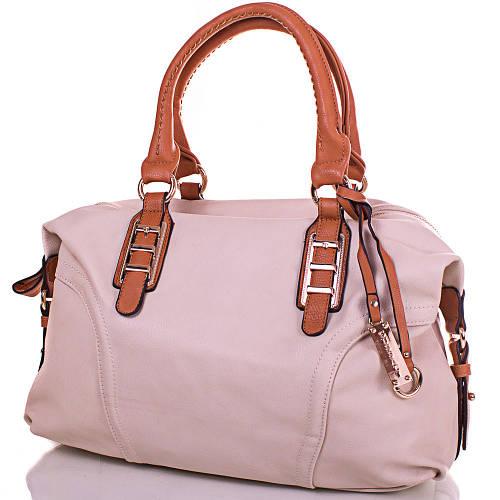 Женская элегантная сумка из кожезаменителя GUSSACI (ГУССАЧИ) TUGUS901-4-12  (бежевый)