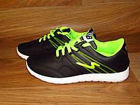 Женские кроссовки черные с зеленым