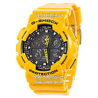 Часы водонепроницаемые Casio g-shock Ga-100 Yellow-Black AAA