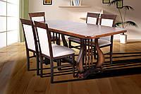 Оригинальный раскладной обеденный стол Арфа, темный орех