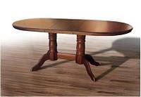 Дубовый раскладной обеденный стол Наполеон 1,40 см, орех