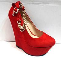 Туфли женские с цепочкой на скале красные, темно-синие, черные KF0379