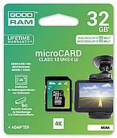 MicroSDHC 32GB UHS-I/U3 Class 10 GoodRam + SD-adapter R95/W90MB/s (M3AA-0320R11-DD)