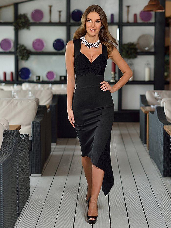 Стильное асиметричное трикотажное платье  от  Lusien Q150, фото 1