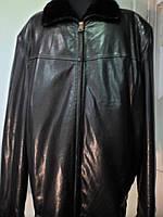 Дубленка мужская из натуральной овчины+кожа на молнии чёрного цвета длина-72см Турция 50р-52р