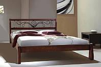 """Ліжко двоспальне дерев'яне """"Ретро"""" з ковкою 1.6 м (Мікс Меблі), фото 1"""