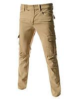 Мужские брюки (штаны) slim fit  накладные карманы беж  М