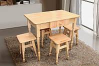 Комплект деревянный кухонный стол + 4 табурета (Микс Мебель)