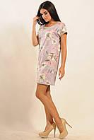 Короткое стильное платье из принтованной замши | фиолет (р.42-52)