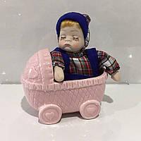 Фарфоровый музыкальный пупс игрушка в коляске, фото 1