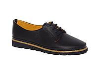 Женские легкие кожаные туфли на низком ходу (черные)