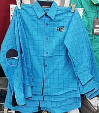 Рубашка на мальчиков в клетку 128,152 роста Горчичный, фото 3