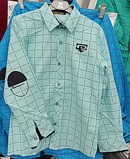 Рубашка на мальчиков в клетку 128,152 роста Горчичный, фото 2