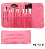 ML-mix-04 А Набор искусственных и натуральных кистей Lady Victory в ярко-розовом лаковом футляре