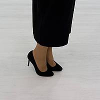 Туфли лодочки из натуральной замши черный