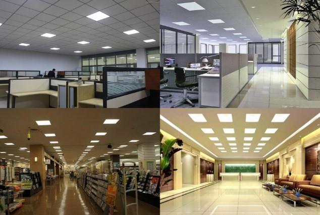 Экономное светодиодное освещение офиса, цеха