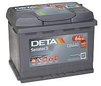 Автомобільний акумулятор DetaSenator 3 Carbon Boost, DA640, 64Ah/640A, R+, пусковий для легкових автомобілів