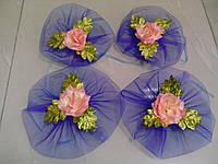Цветы на ручки свадебного авто (персик + синее) 4 шт.