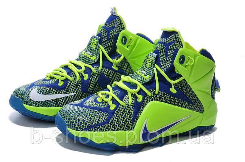 Мужские баскетбольные кроссовки Nike Lebron 12 (Votl Electric Green Hyper Blue Royal)