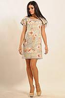 Короткое стильное платье из принтованной замши | серый (р.42-52)