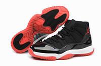 Мужские кроссовки Air Jordan 11 Black Red Реплика, фото 1