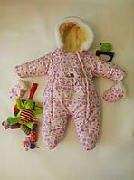 Бесплатная доставка! Зимний комбинезон для новорожденных (0-6 месяцев) розовые пуговички