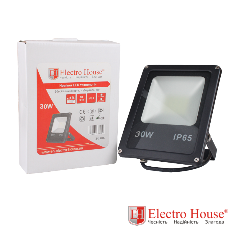 ElectroHouse LED прожектор 30W IP65 ElectroHouse