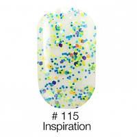 Гель лак Inspiration белый с разноцветными микроблестками