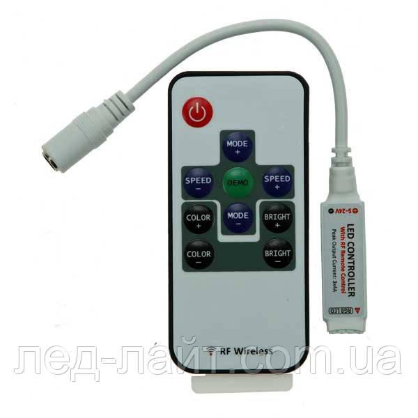 Контроллер RGB (6А) с пультом (радио, 10кнопок)