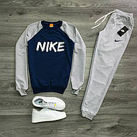 Спортивный костюм, серый с синим, трикотажный M