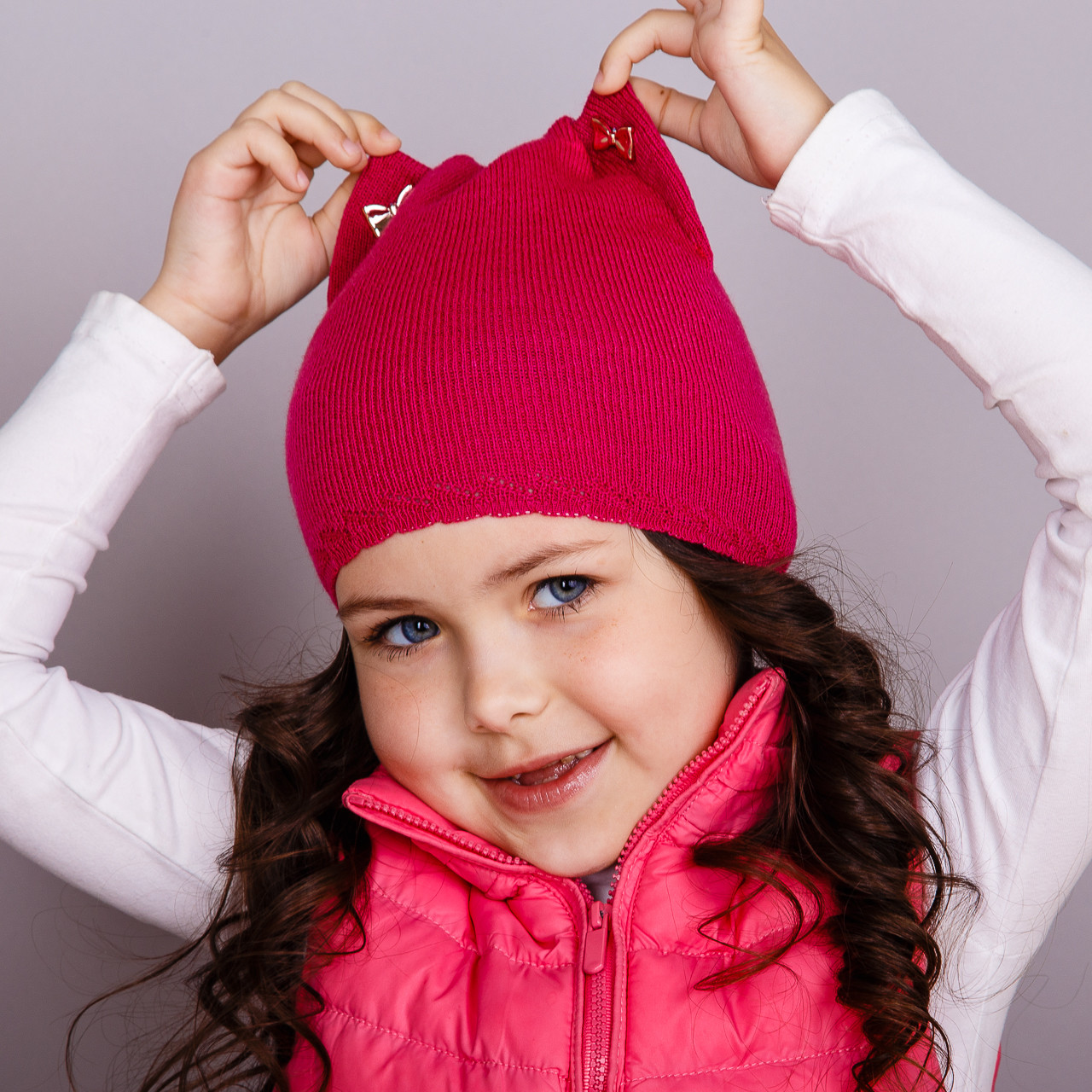 Модная шапка-кошка для девочек оптом - весна-осень  - Артикул 1706