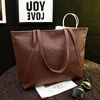 Большая женская сумка Cross Handle коричневая