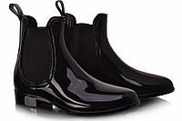 Черные женские резиновые ботинки с глянцевым эффектом KAWA